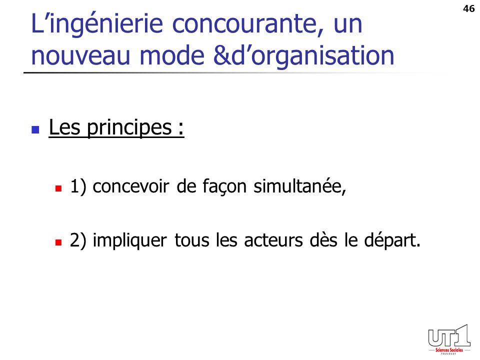 46 Lingénierie concourante, un nouveau mode &dorganisation Les principes : 1) concevoir de façon simultanée, 2) impliquer tous les acteurs dès le dépa