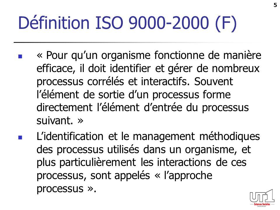 5 Définition ISO 9000-2000 (F) « Pour quun organisme fonctionne de manière efficace, il doit identifier et gérer de nombreux processus corrélés et int