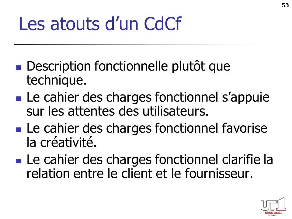 53 Les atouts dun CdCf Description fonctionnelle plutôt que technique. Le cahier des charges fonctionnel sappuie sur les attentes des utilisateurs. Le
