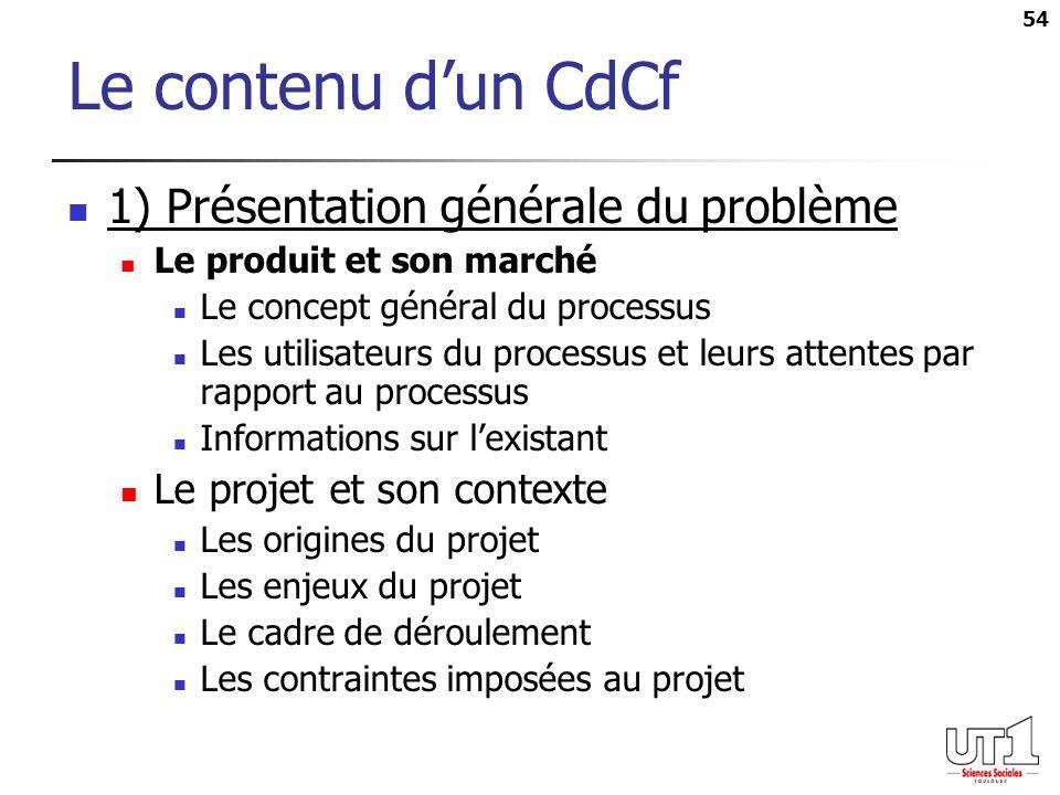 54 Le contenu dun CdCf 1) Présentation générale du problème Le produit et son marché Le concept général du processus Les utilisateurs du processus et