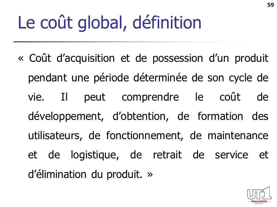 59 Le coût global, définition « Coût dacquisition et de possession dun produit pendant une période déterminée de son cycle de vie. Il peut comprendre