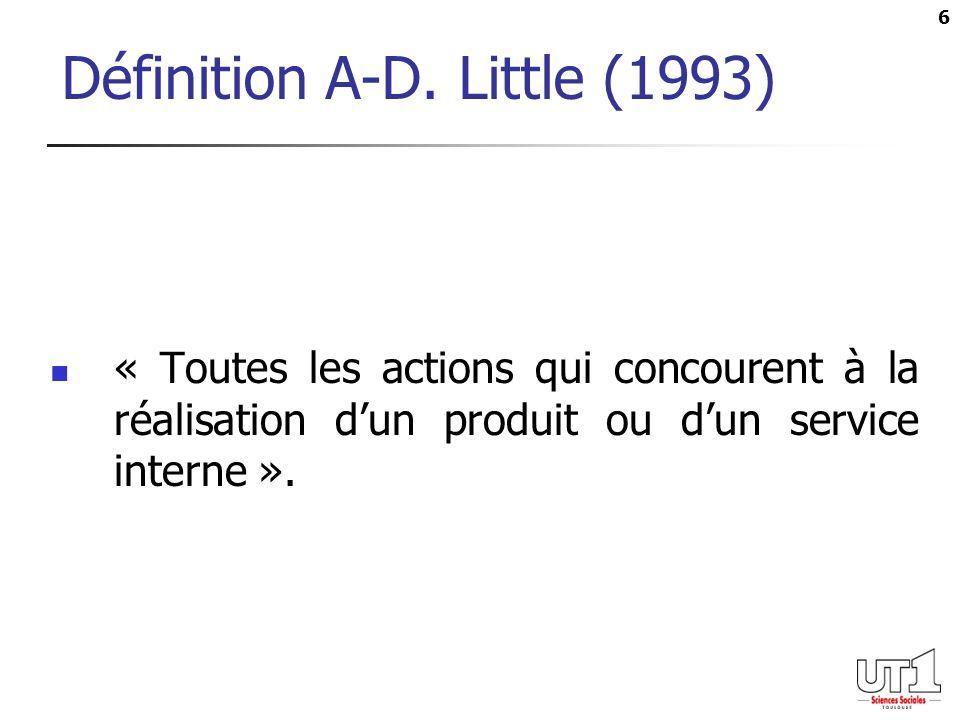 6 Définition A-D. Little (1993) « Toutes les actions qui concourent à la réalisation dun produit ou dun service interne ».