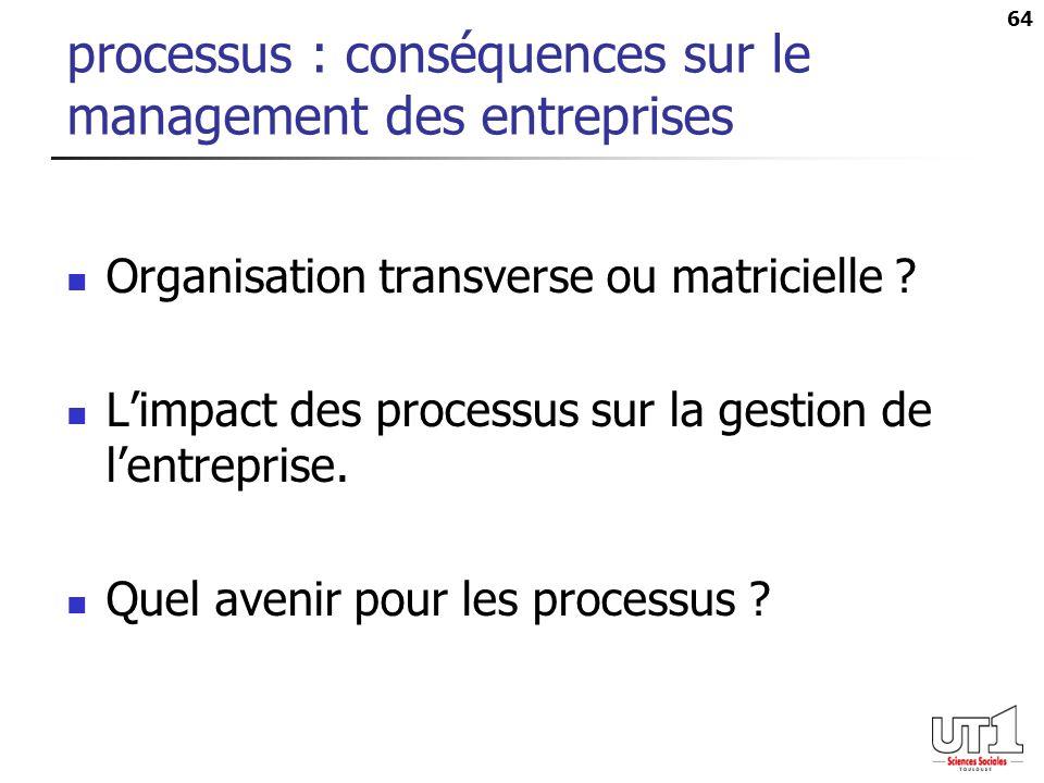 64 processus : conséquences sur le management des entreprises Organisation transverse ou matricielle ? Limpact des processus sur la gestion de lentrep