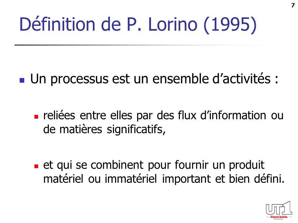 7 Définition de P. Lorino (1995) Un processus est un ensemble dactivités : reliées entre elles par des flux dinformation ou de matières significatifs,