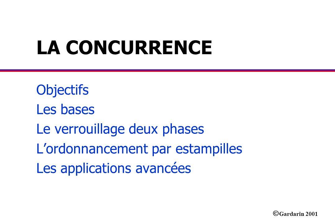 Gardarin 2001 LA CONCURRENCE Objectifs Les bases Le verrouillage deux phases Lordonnancement par estampilles Les applications avancées