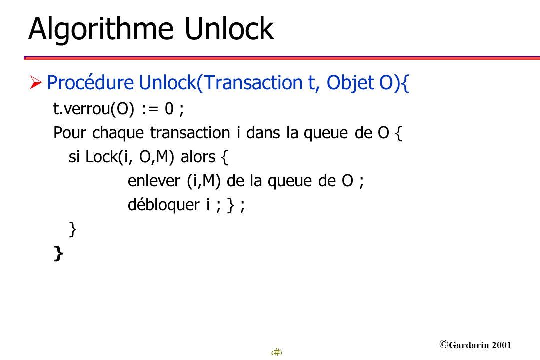10 © Gardarin 2001 Algorithme Unlock Procédure Unlock(Transaction t, Objet O){ t.verrou(O) := 0 ; Pour chaque transaction i dans la queue de O { si Lo