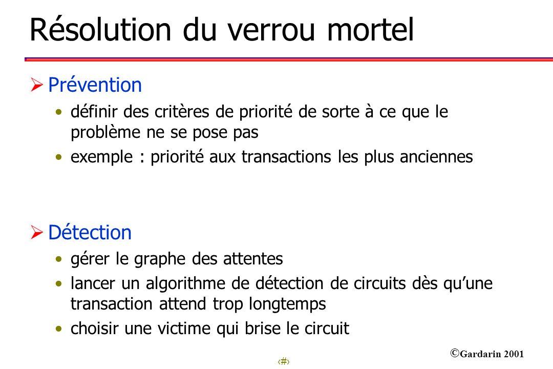 13 © Gardarin 2001 Résolution du verrou mortel Prévention définir des critères de priorité de sorte à ce que le problème ne se pose pas exemple : prio