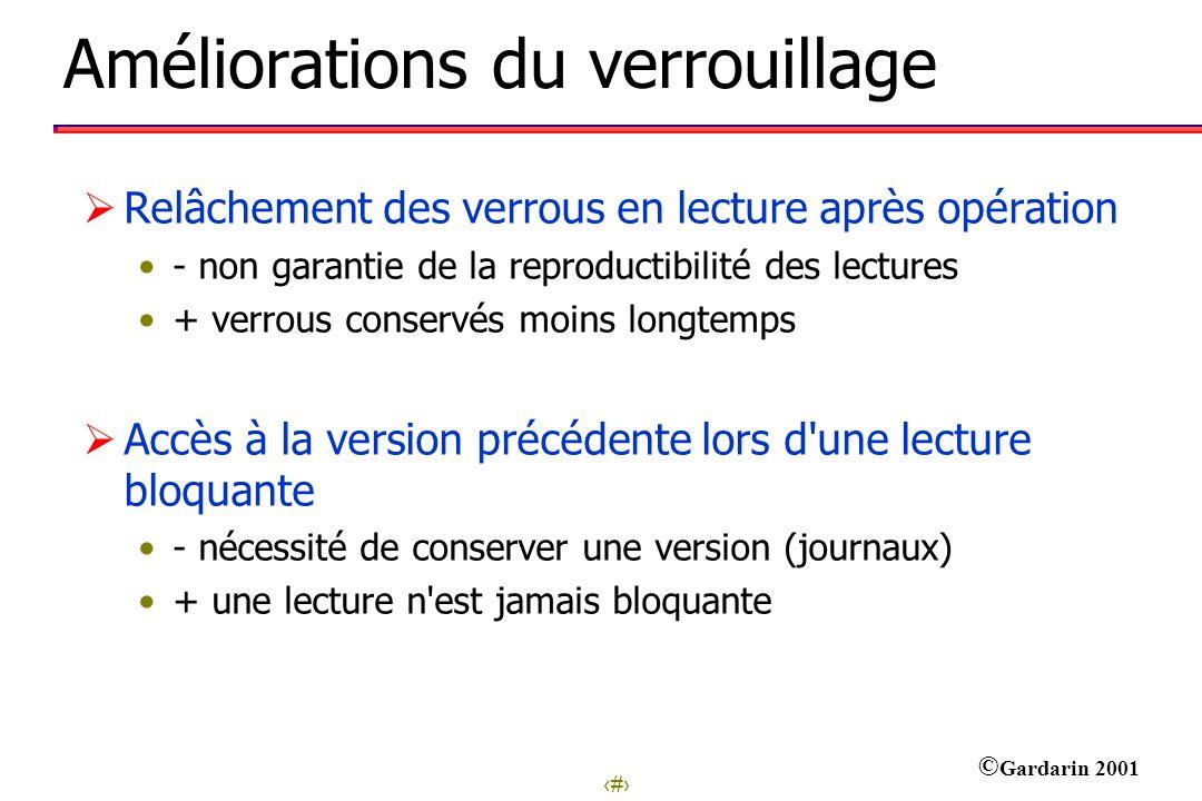 14 © Gardarin 2001 Améliorations du verrouillage Relâchement des verrous en lecture après opération - non garantie de la reproductibilité des lectures