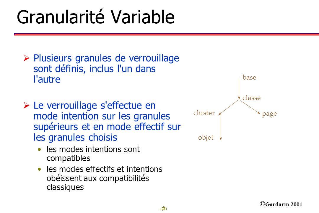 15 © Gardarin 2001 Granularité Variable base classe cluster objet page Plusieurs granules de verrouillage sont définis, inclus l'un dans l'autre Le ve