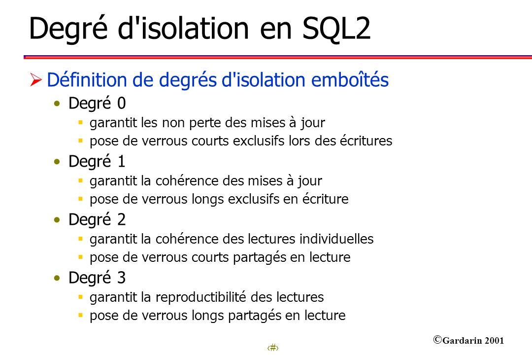 17 © Gardarin 2001 Degré d'isolation en SQL2 Définition de degrés d'isolation emboîtés Degré 0 garantit les non perte des mises à jour pose de verrous