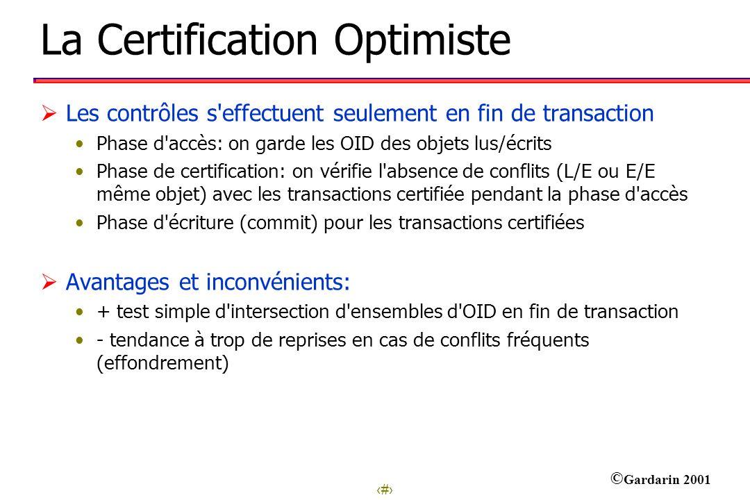 21 © Gardarin 2001 La Certification Optimiste Les contrôles s'effectuent seulement en fin de transaction Phase d'accès: on garde les OID des objets lu