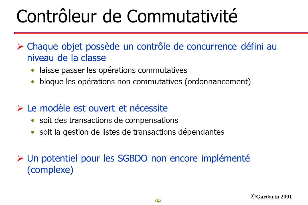 25 © Gardarin 2001 Contrôleur de Commutativité Chaque objet possède un contrôle de concurrence défini au niveau de la classe laisse passer les opérati