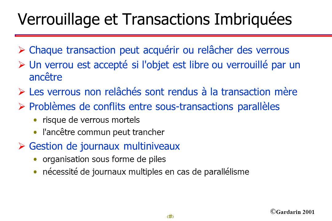 27 © Gardarin 2001 Verrouillage et Transactions Imbriquées Chaque transaction peut acquérir ou relâcher des verrous Un verrou est accepté si l'objet e