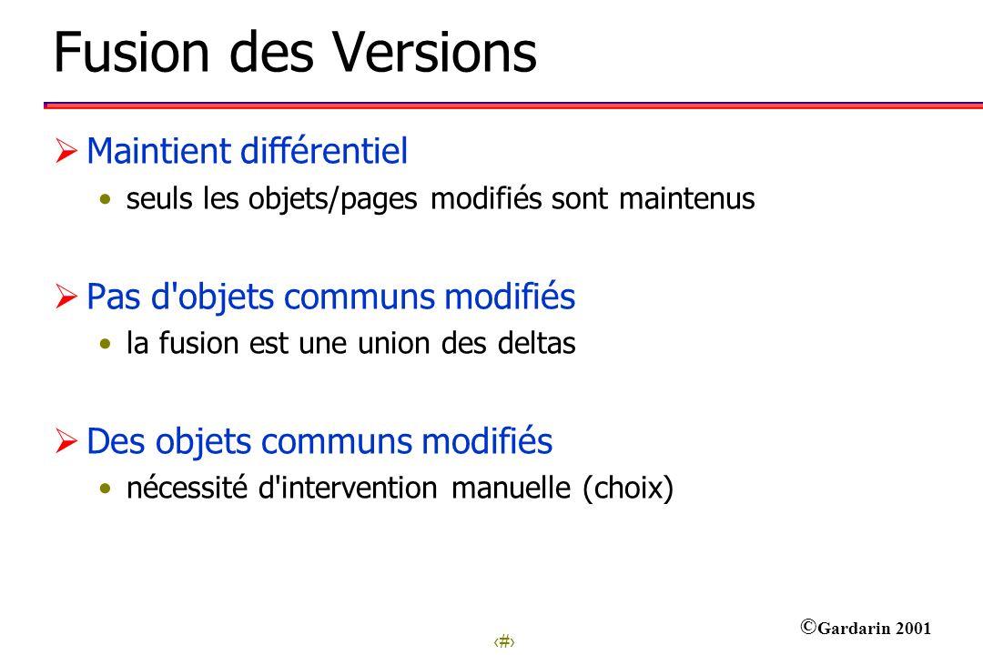 30 © Gardarin 2001 Fusion des Versions Maintient différentiel seuls les objets/pages modifiés sont maintenus Pas d'objets communs modifiés la fusion e