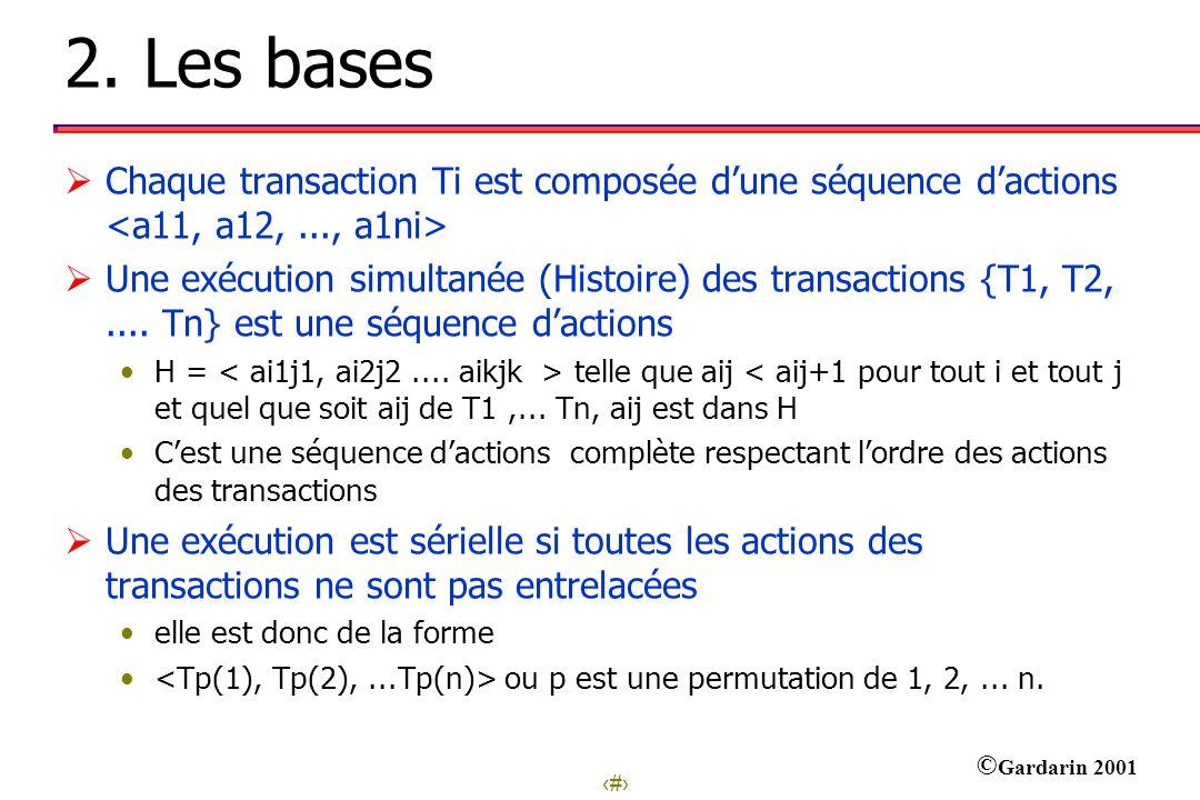 4 © Gardarin 2001 2. Les bases Chaque transaction Ti est composée dune séquence dactions Une exécution simultanée (Histoire) des transactions {T1, T2,
