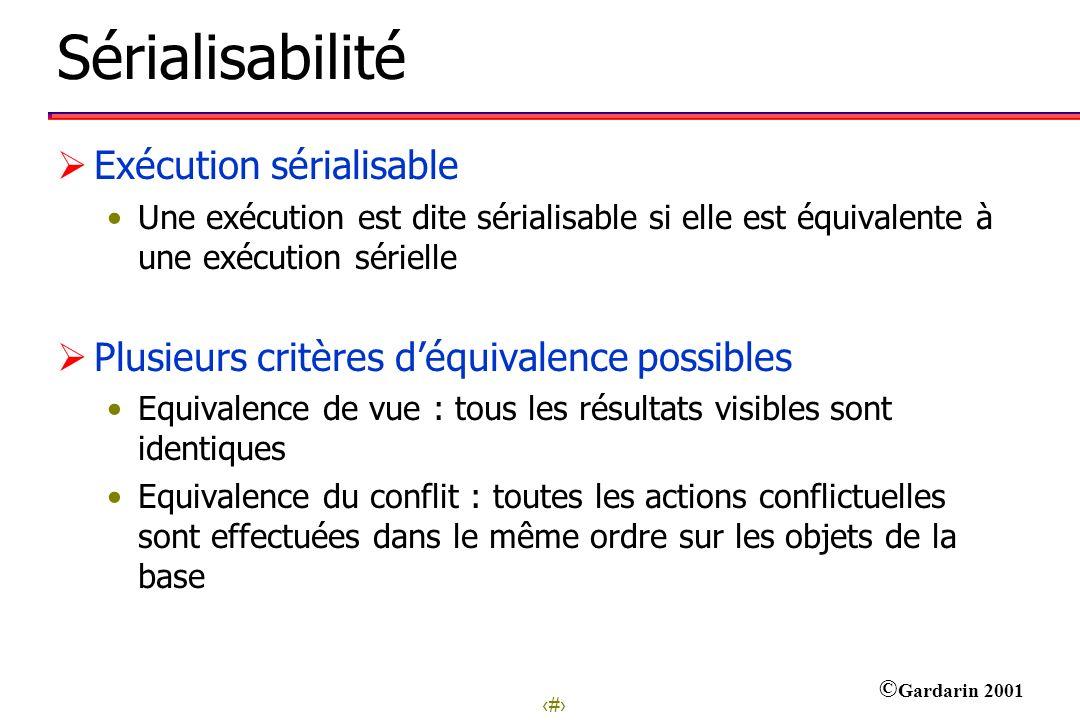 5 © Gardarin 2001 Sérialisabilité Exécution sérialisable Une exécution est dite sérialisable si elle est équivalente à une exécution sérielle Plusieur