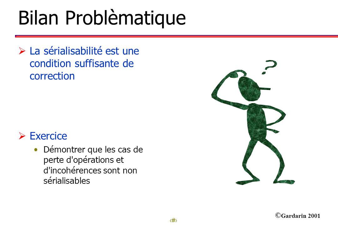 7 © Gardarin 2001 Bilan Problèmatique La sérialisabilité est une condition suffisante de correction Exercice Démontrer que les cas de perte d'opératio