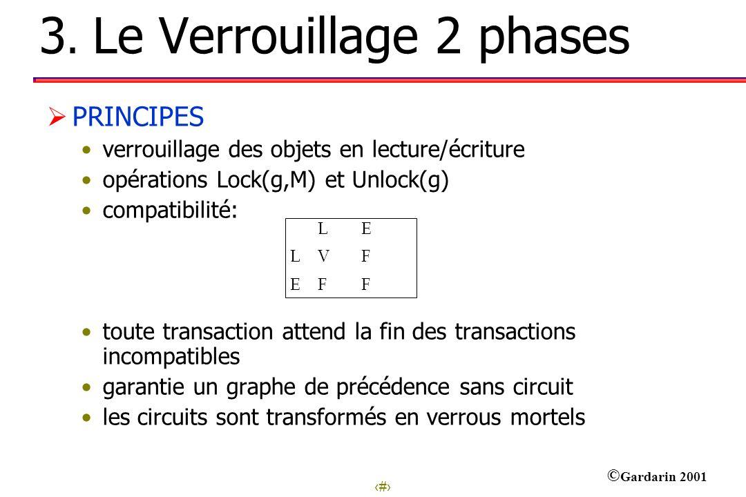 8 © Gardarin 2001 3. Le Verrouillage 2 phases PRINCIPES verrouillage des objets en lecture/écriture opérations Lock(g,M) et Unlock(g) compatibilité: t