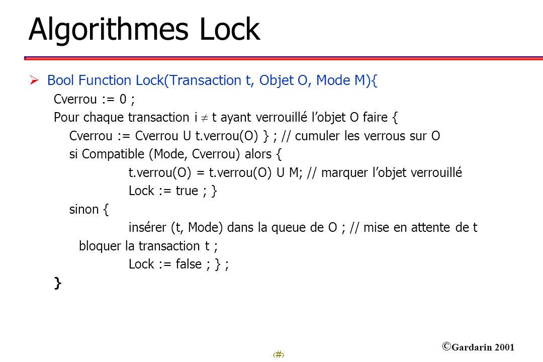 9 © Gardarin 2001 Algorithmes Lock Bool Function Lock(Transaction t, Objet O, Mode M){ Cverrou := 0 ; Pour chaque transaction i t ayant verrouillé lob