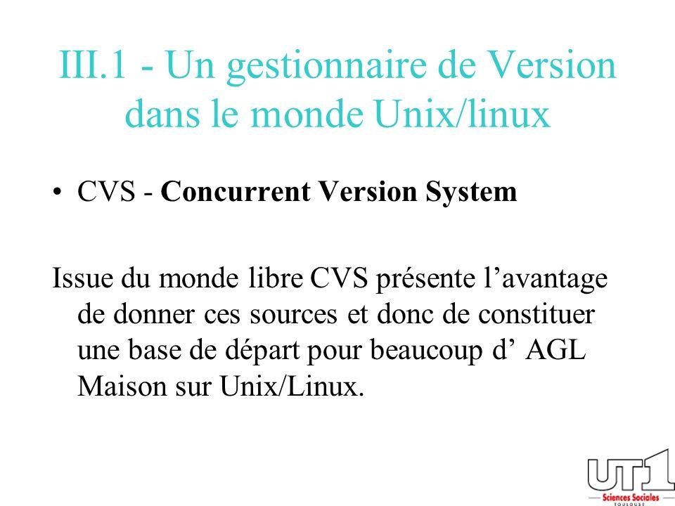 III.1 - Un gestionnaire de Version dans le monde Unix/linux CVS - Concurrent Version System Issue du monde libre CVS présente lavantage de donner ces