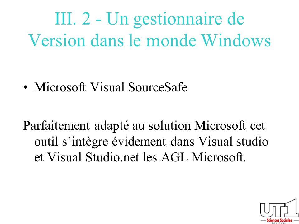 III. 2 - Un gestionnaire de Version dans le monde Windows Microsoft Visual SourceSafe Parfaitement adapté au solution Microsoft cet outil sintègre évi
