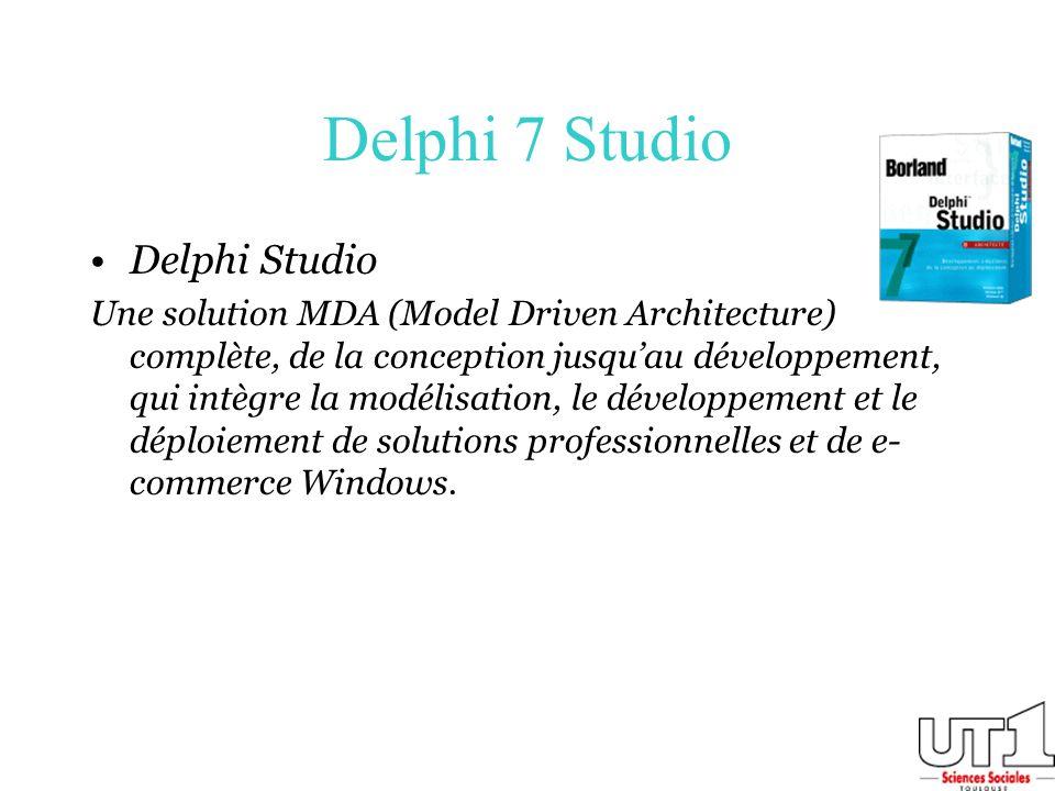 Delphi 7 Studio Delphi Studio Une solution MDA (Model Driven Architecture) complète, de la conception jusquau développement, qui intègre la modélisati