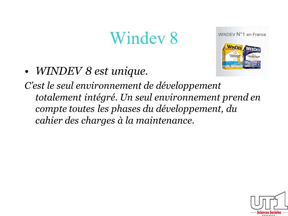Windev 8 WINDEV 8 est unique. Cest le seul environnement de développement totalement intégré. Un seul environnement prend en compte toutes les phases