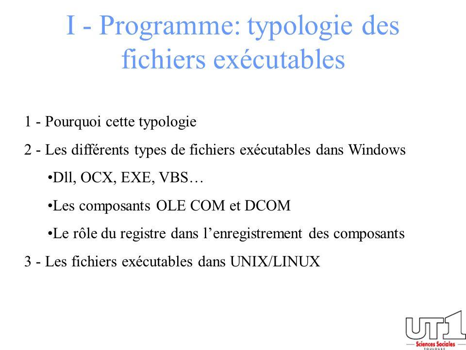 I - Programme: typologie des fichiers exécutables 1 - Pourquoi cette typologie 2 - Les différents types de fichiers exécutables dans Windows Dll, OCX,