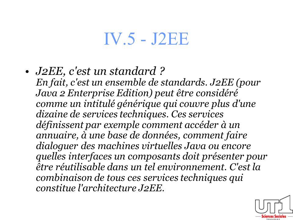 IV.5 - J2EE J2EE, c'est un standard ? En fait, c'est un ensemble de standards. J2EE (pour Java 2 Enterprise Edition) peut être considéré comme un inti