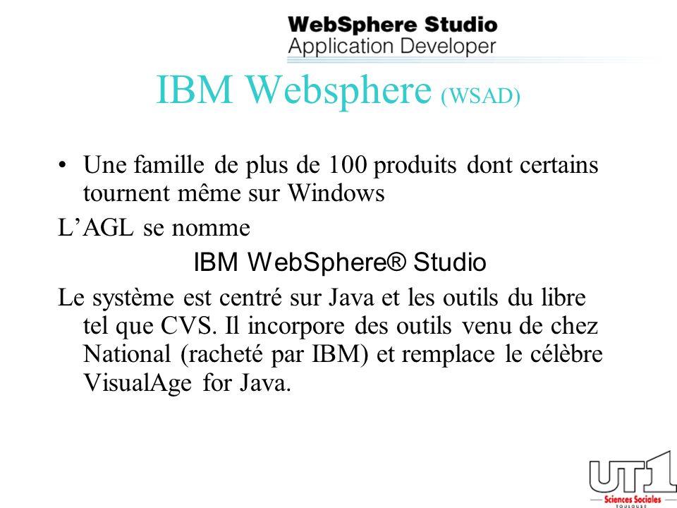 IBM Websphere (WSAD) Une famille de plus de 100 produits dont certains tournent même sur Windows LAGL se nomme IBM WebSphere® Studio Le système est ce