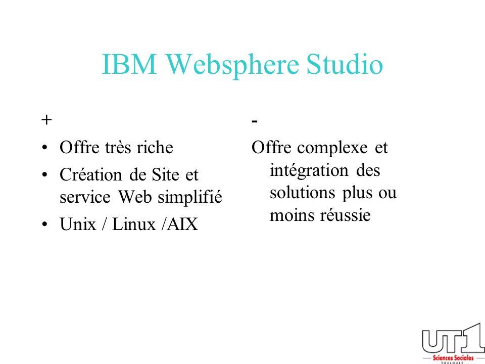 IBM Websphere Studio + Offre très riche Création de Site et service Web simplifié Unix / Linux /AIX - Offre complexe et intégration des solutions plus