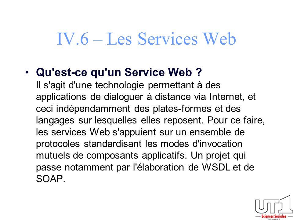 IV.6 – Les Services Web Qu'est-ce qu'un Service Web ? Il s'agit d'une technologie permettant à des applications de dialoguer à distance via Internet,