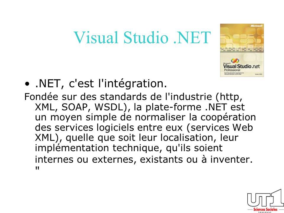 .NET, c'est l'intégration. Fondée sur des standards de l'industrie (http, XML, SOAP, WSDL), la plate-forme.NET est un moyen simple de normaliser la co