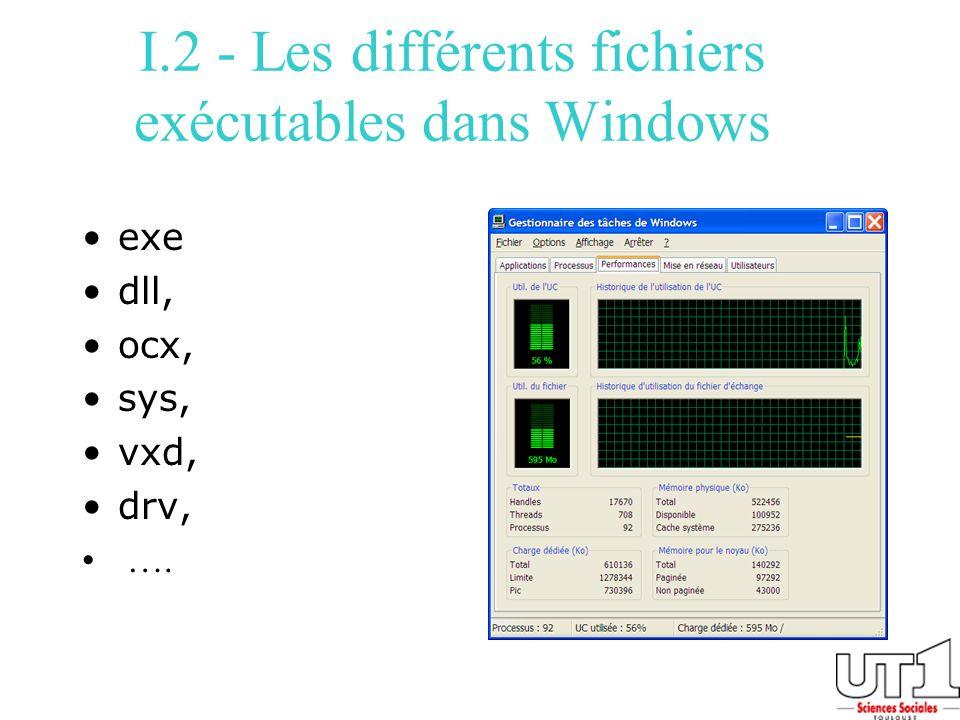 I.2 - Les différents fichiers exécutables dans Windows exe dll, ocx, sys, vxd, drv, ….