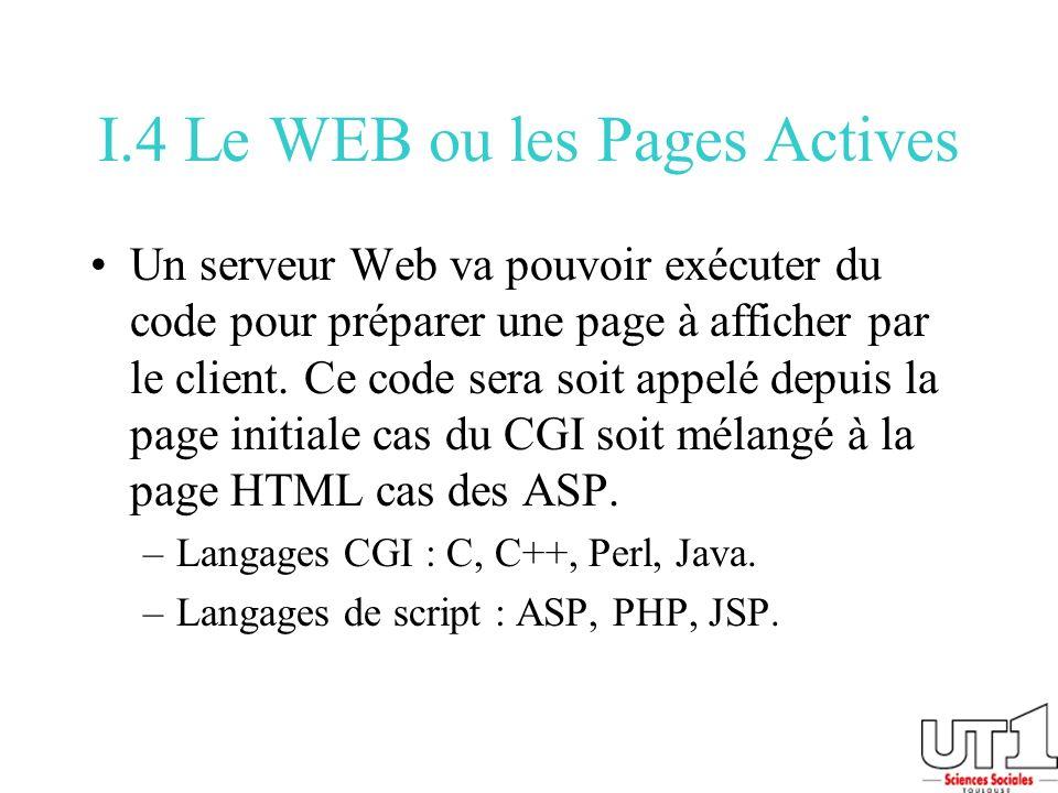 I.4 Le WEB ou les Pages Actives Un serveur Web va pouvoir exécuter du code pour préparer une page à afficher par le client. Ce code sera soit appelé d