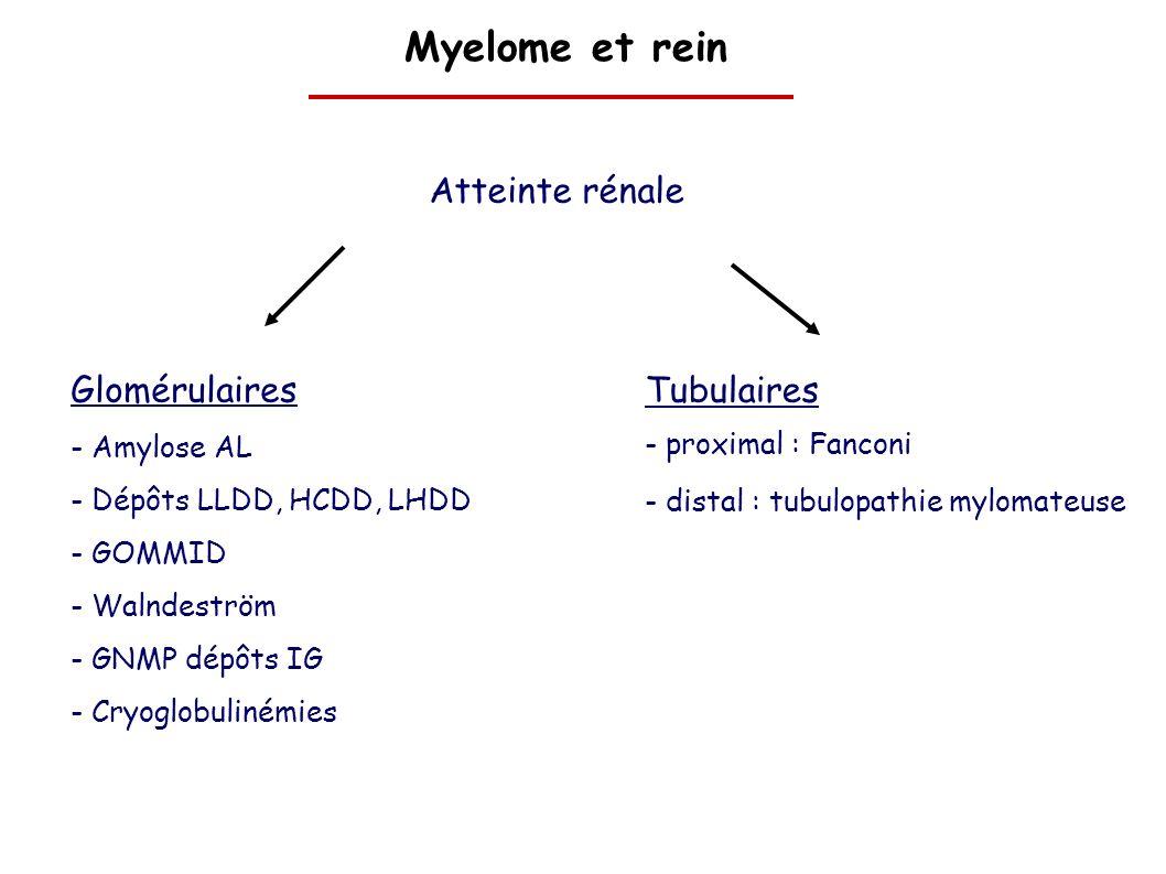 Myelome et rein Atteinte rénale Glomérulaires - Amylose AL - Dépôts LLDD, HCDD, LHDD - GOMMID - Walndeström - GNMP dépôts IG - Cryoglobulinémies Tubul