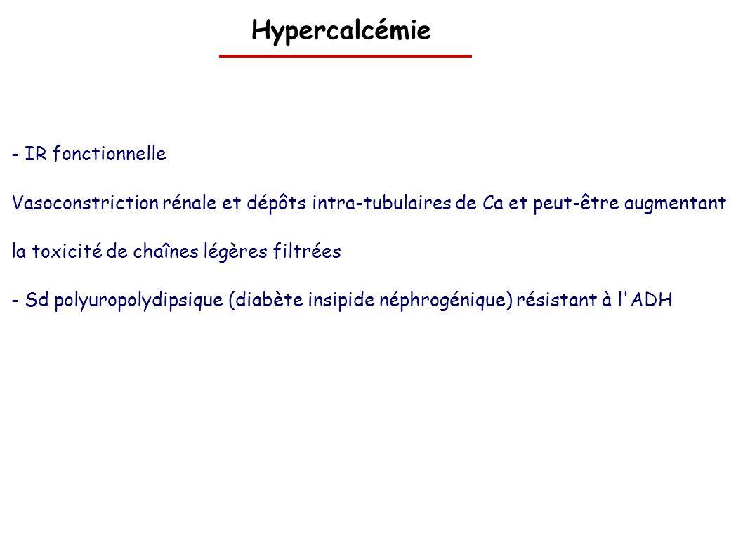 Hypercalcémie - IR fonctionnelle Vasoconstriction rénale et dépôts intra-tubulaires de Ca et peut-être augmentant la toxicité de chaînes légères filtr