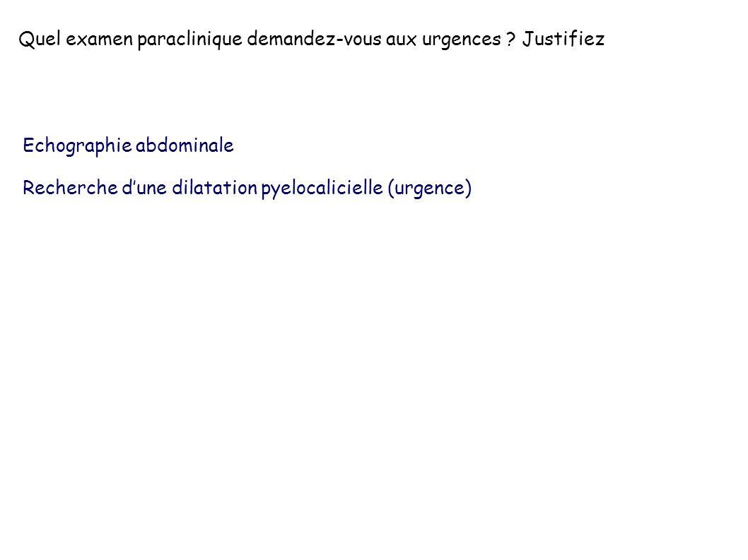 Echographie abdominale Recherche dune dilatation pyelocalicielle (urgence)