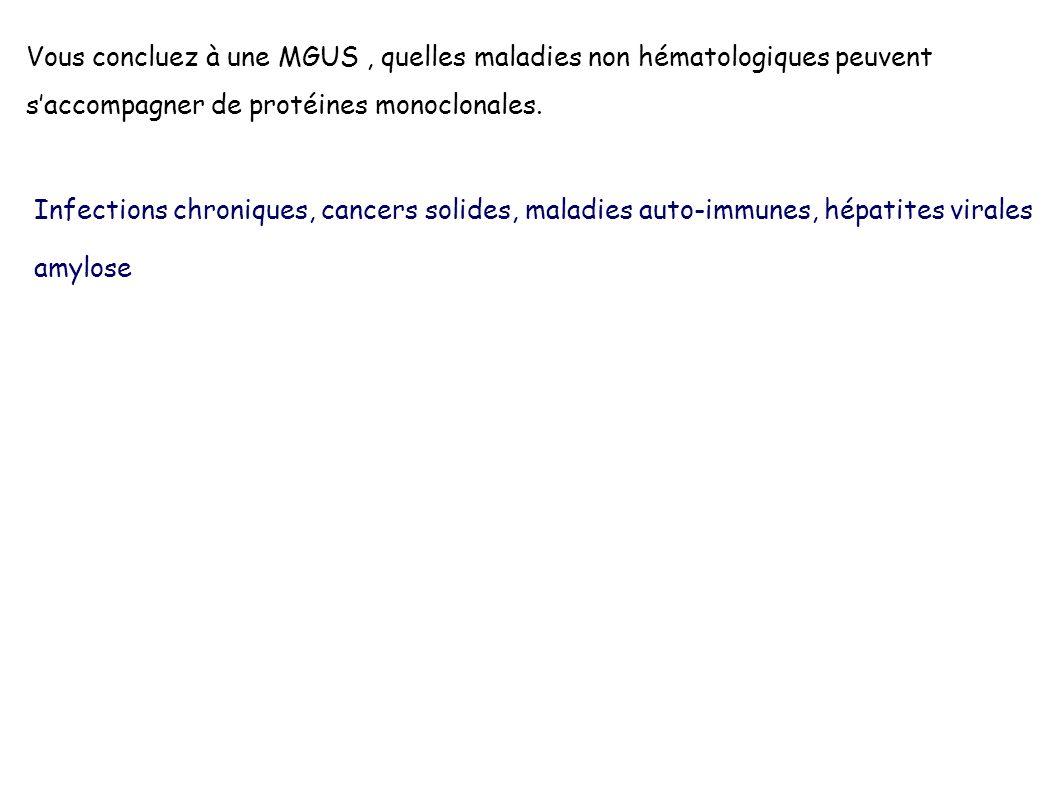 Vous concluez à une MGUS, quelles maladies non hématologiques peuvent saccompagner de protéines monoclonales. Infections chroniques, cancers solides,