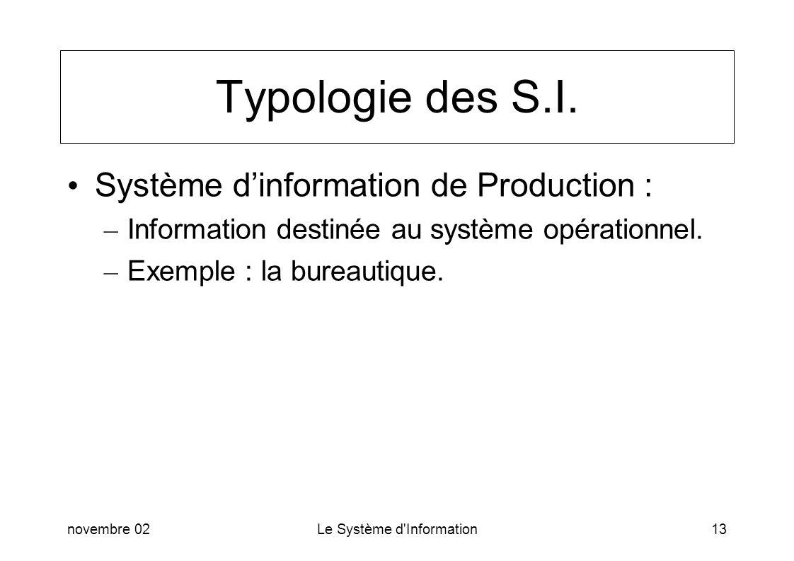 novembre 02Le Système d'Information13 Typologie des S.I. Système dinformation de Production : – Information destinée au système opérationnel. – Exempl