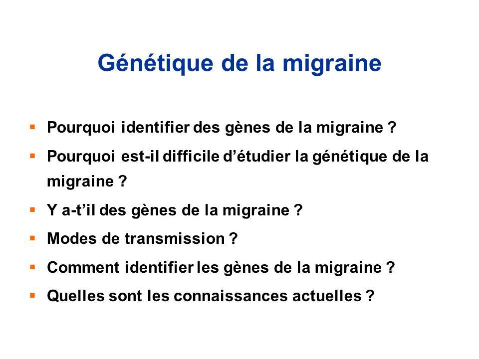 Génétique de la migraine Pourquoi identifier des gènes de la migraine ? Pourquoi est-il difficile détudier la génétique de la migraine ? Y a-til des g