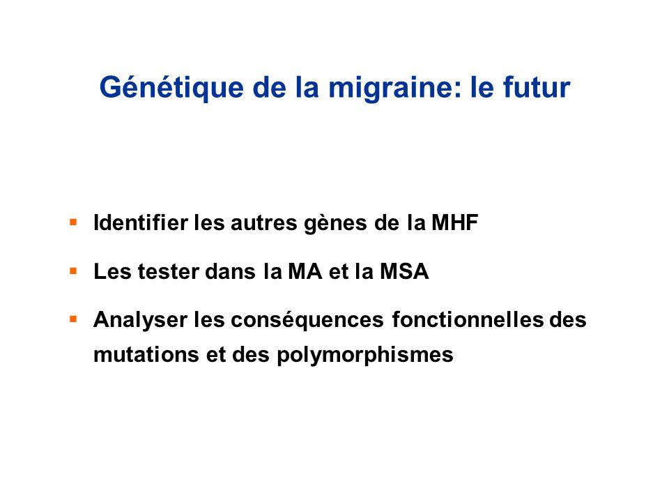Génétique de la migraine: le futur Identifier les autres gènes de la MHF Les tester dans la MA et la MSA Analyser les conséquences fonctionnelles des