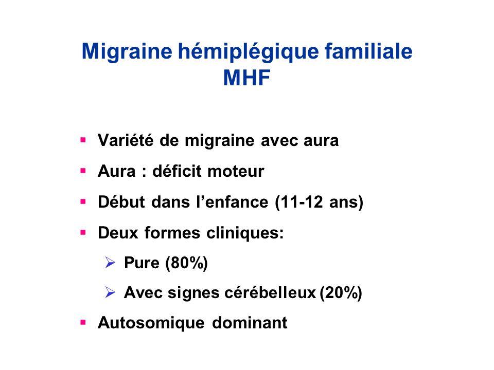 Migraine hémiplégique familiale MHF Variété de migraine avec aura Aura : déficit moteur Début dans lenfance (11-12 ans) Deux formes cliniques: Pure (8