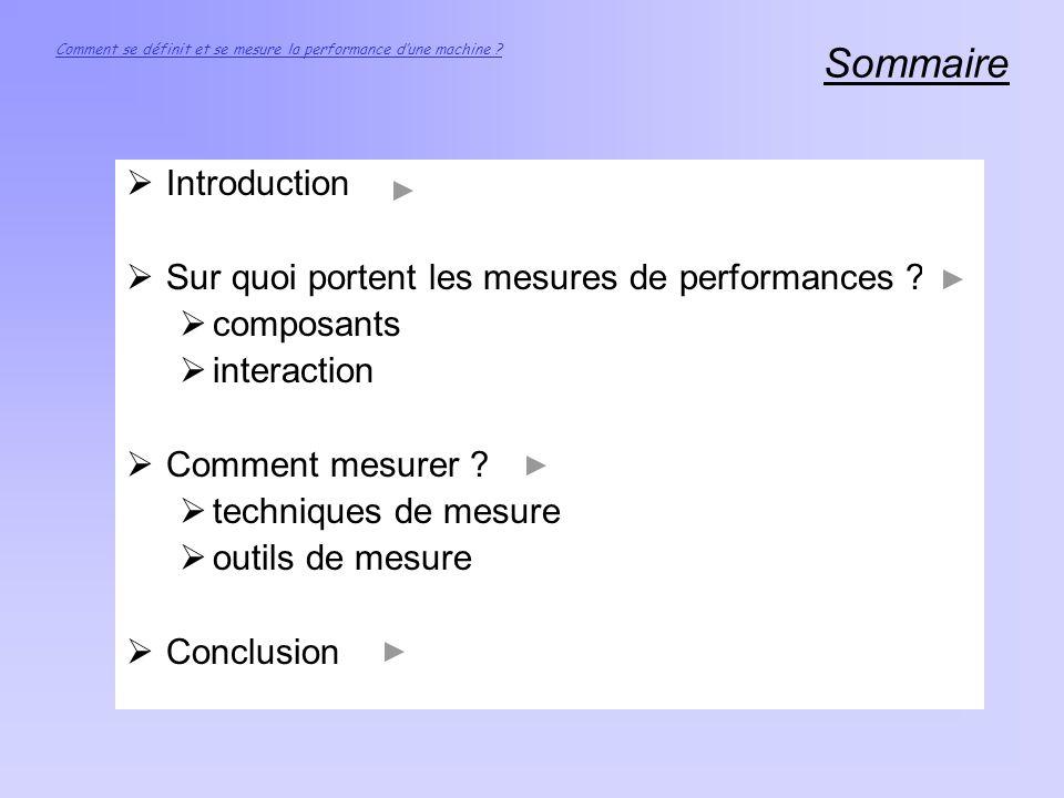 Sommaire Comment se définit et se mesure la performance dune machine ? Introduction Sur quoi portent les mesures de performances ? composants interact