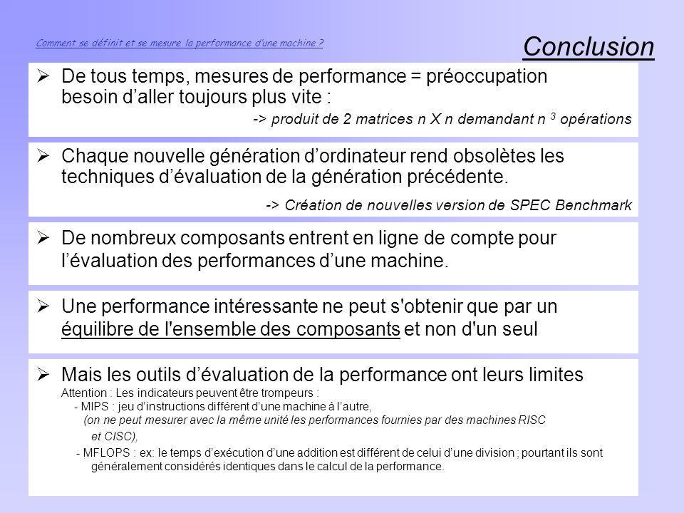 Conclusion Comment se définit et se mesure la performance dune machine ? De tous temps, mesures de performance = préoccupation besoin daller toujours