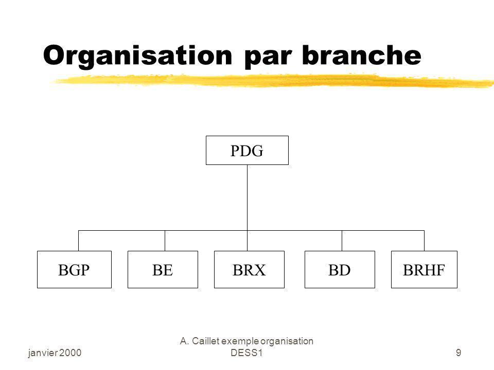 janvier 2000 A. Caillet exemple organisation DESS19 Organisation par branche PDG BGPBEBRXBDBRHF