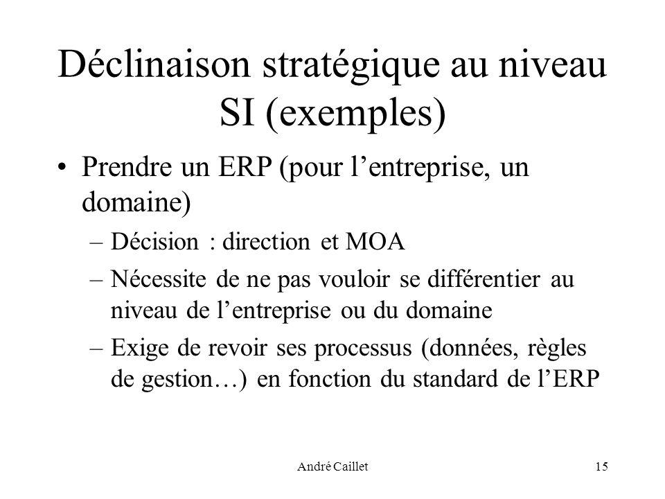 André Caillet15 Déclinaison stratégique au niveau SI (exemples) Prendre un ERP (pour lentreprise, un domaine) –Décision : direction et MOA –Nécessite de ne pas vouloir se différentier au niveau de lentreprise ou du domaine –Exige de revoir ses processus (données, règles de gestion…) en fonction du standard de lERP