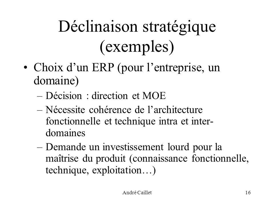 André Caillet16 Déclinaison stratégique (exemples) Choix dun ERP (pour lentreprise, un domaine) –Décision : direction et MOE –Nécessite cohérence de l