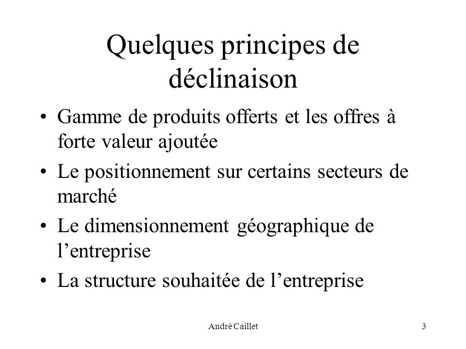 André Caillet3 Quelques principes de déclinaison Gamme de produits offerts et les offres à forte valeur ajoutée Le positionnement sur certains secteurs de marché Le dimensionnement géographique de lentreprise La structure souhaitée de lentreprise