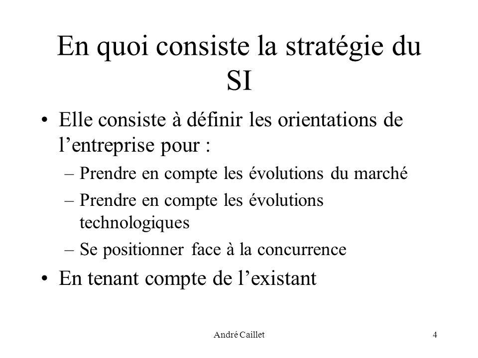André Caillet4 En quoi consiste la stratégie du SI Elle consiste à définir les orientations de lentreprise pour : –Prendre en compte les évolutions du marché –Prendre en compte les évolutions technologiques –Se positionner face à la concurrence En tenant compte de lexistant